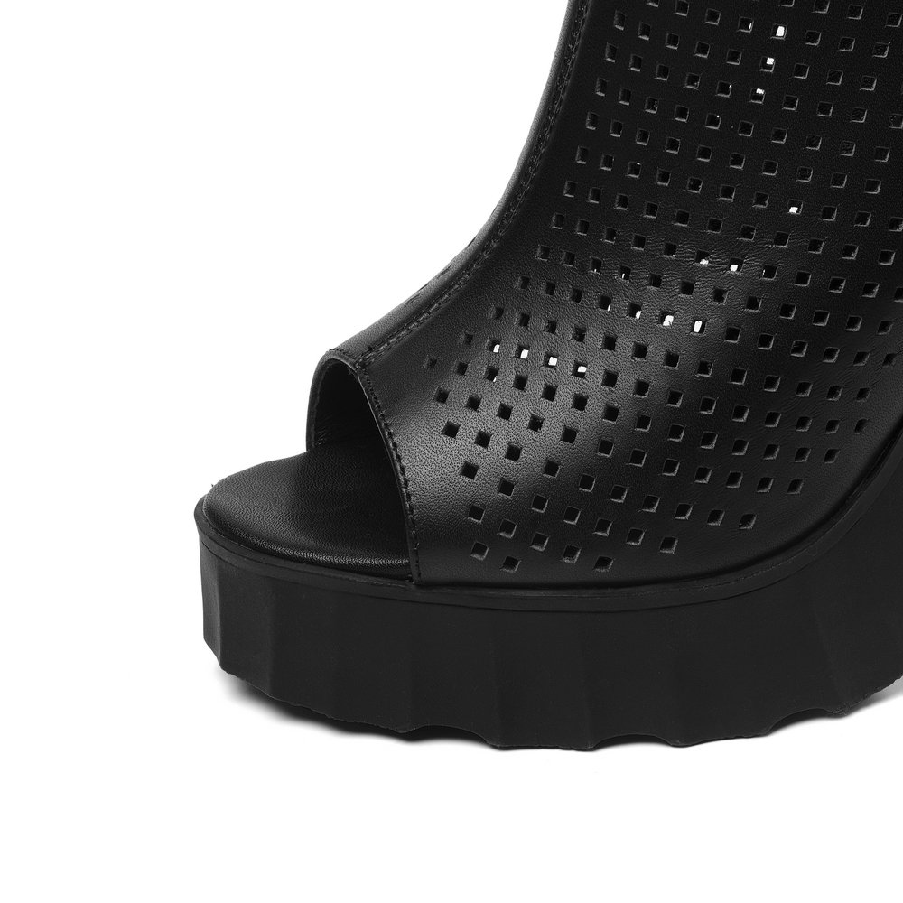 Black Aiweiyi Femmes En Talons Cuir D'été Les Slingback Hauts Peep Toe Bottes Bottines Ultra beige Pour Vache qZwF4q