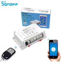 Sonoff 4CH Pro Smart Home 433MHz RF Wifi Light Switch 4 Gang 3 Working Modes Inching