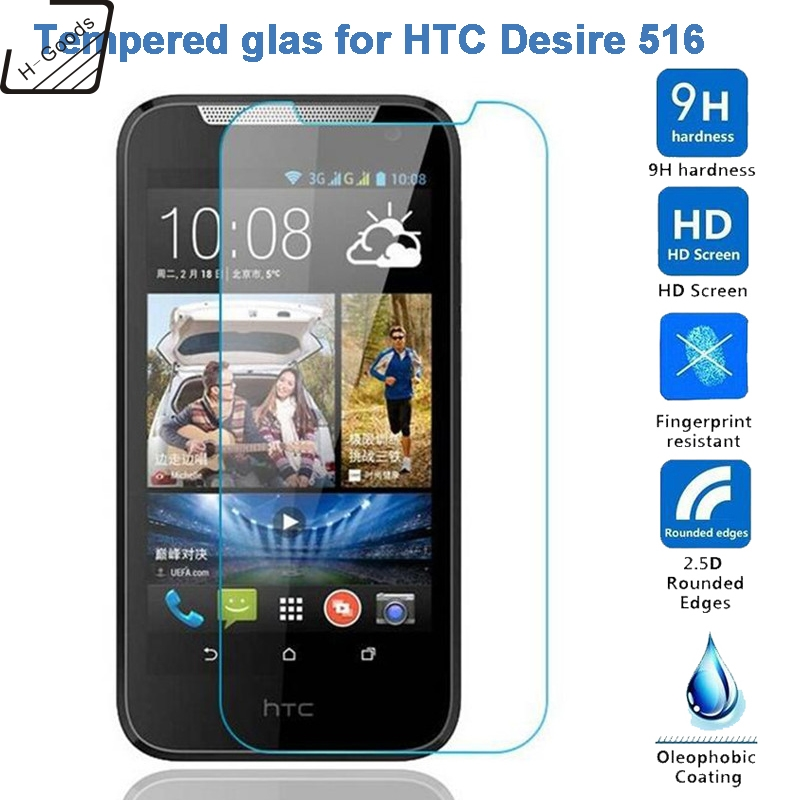 H-Goods 9H Premium Tempered Glass For HTC Desire 516 516w Dual SIM Screen Protector 9H Toughened Protective Film Guard