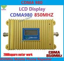 ЖК-Дисплей CDMA 980 850 МГц Сигнала Мобильного Телефона CDMA Booste Repeater Усилитель Покрытие 2000 квадратных + Адаптер Питания Бесплатно доставка