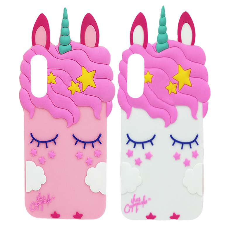 <font><b>3D</b></font> Cartoon Pink Unicorn Soft Silicone <font><b>Case</b></font> For <font><b>VIVO</b></font> V5 V7 V9 y53 <font><b>y69</b></font> F7 V7Plus Cartoon Pattern Bag Phone <font><b>Cases</b></font> image