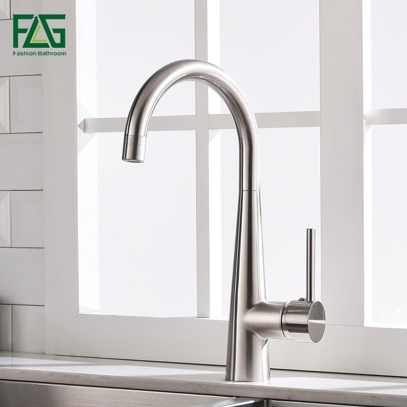 Flg torneiras de cozinha níquel escovado rotativa cobre torneira da pia da cozinha água quente e fria latão torneiras de cozinha misturadora 1013-33n