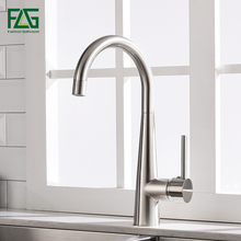 FLG Kitchen Faucets Nickel Brushed Rotating Copper Kitchen Sink Faucet Hot And Cold Water Brass Taps Kitchen Mixer Tap 1013-33N flg kitchen sink faucets black brass kitchen faucet 360 swivel 2 function water outlet mixer cold hot mixer water tap 1013 33b