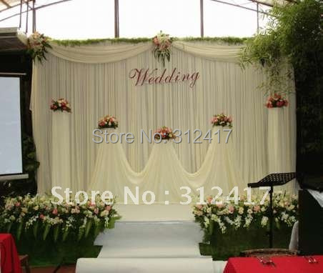 wholesale and retail cheap white wedding backdrop curtain with swag ...