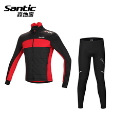 Santic Cycling Jersey Sets Winter Thermal Fleece Cycling Clothing Windproof Riding Bicycle Reflective Jacket Sportswear Pants