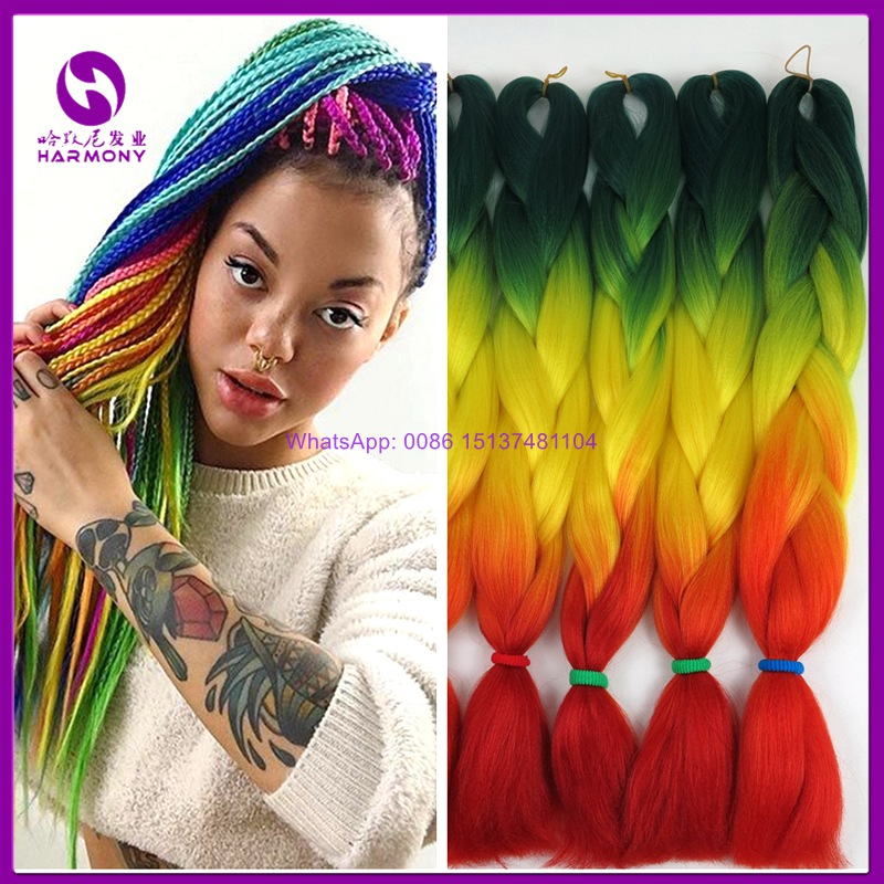 Free Shipping 10packs 24 Quot 100g Ombre Rainbow Braiding Hair