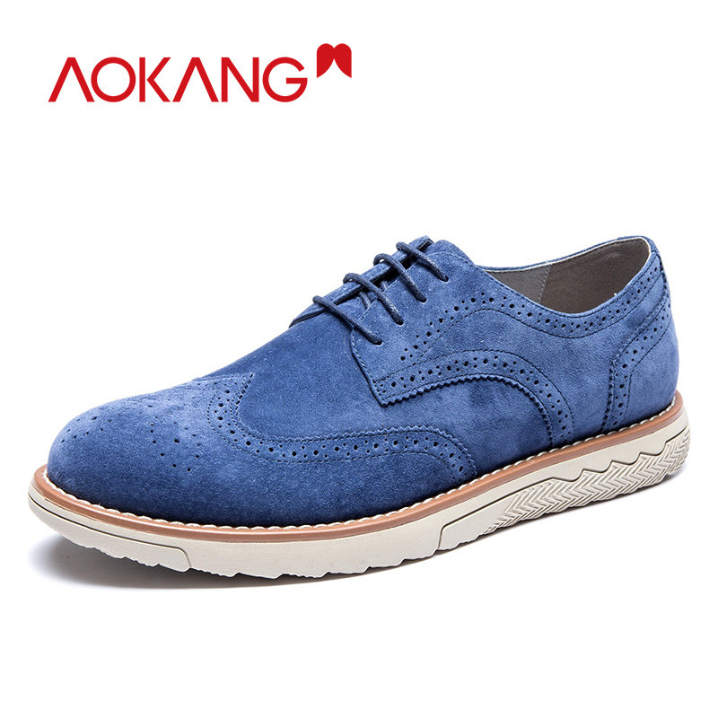 AOKANG New Arrival Men Brogue Shoes Comfortable Breathable Suede men leather Dress Shoes high quality formal shoes man