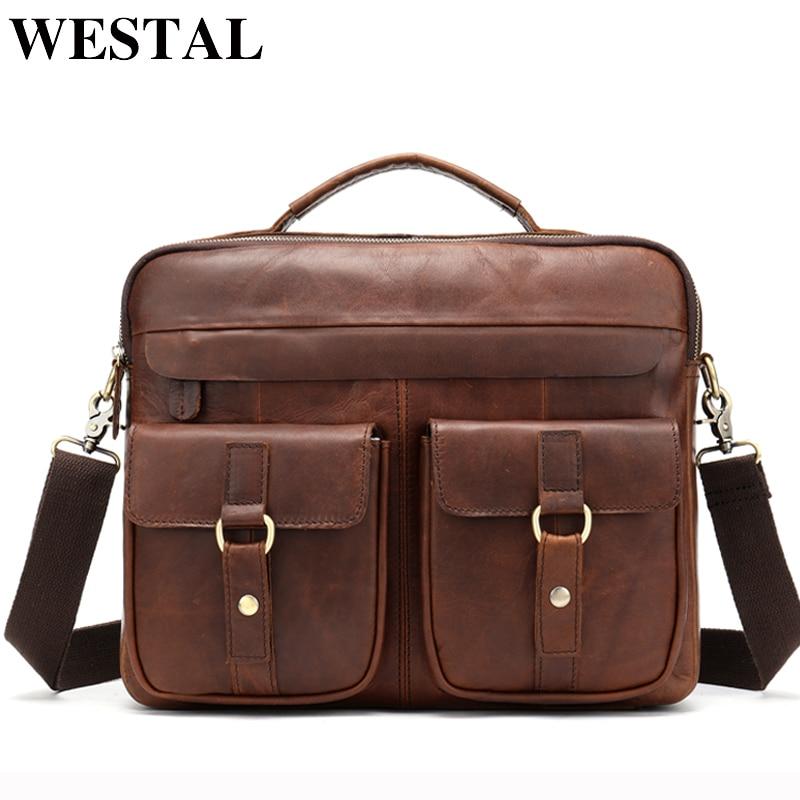 WESTAL ჩანთა მამაკაცის ნამდვილი ტყავის მაცნე მხრის ჩანთა მამაკაცის ბიზნესის ლაპტოპის ქეისი მამაკაცის ჯვარედინი ჩანთები დოკუმენტებისთვის 8001