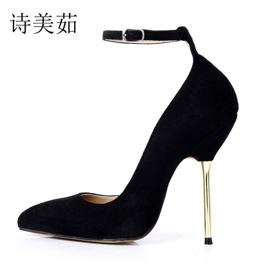 2016 New Black Suede Sexy Party Shoes Women Pointed Toe Stiletto High Heels OL Ladies Pumps Plus Sizes 10 Zapatos Mujer 3845A-d2 women wedding shoes suede pump high heels ol lady office shoes pointy chic court stiletto candy color party classic shoes