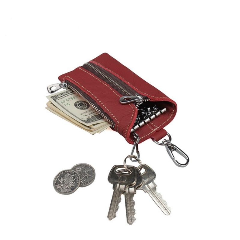 Vintage Real Genuine Leather Key Wallet Women Chain Covers Zipper Case Bag Men Holder Housekeeper S Organizer
