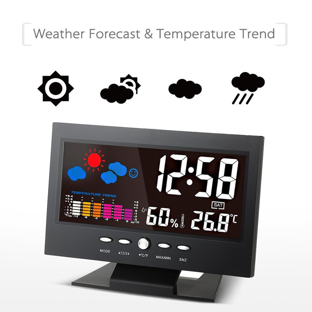 Новый ЖК дисплей цифровой голосовой активации подсветка Погодная станция Температура Влажность Часы|Будильники|   | АлиЭкспресс