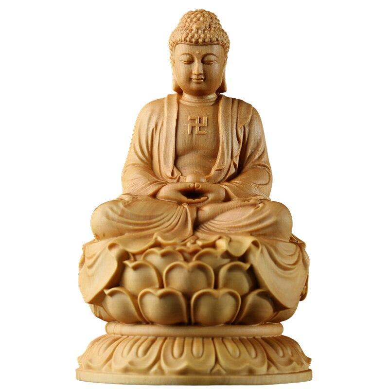 Japan budha Sakyamuni statues Pure wood sculpture Buddha Dharma statue solid buddha budas decoracions estatua home