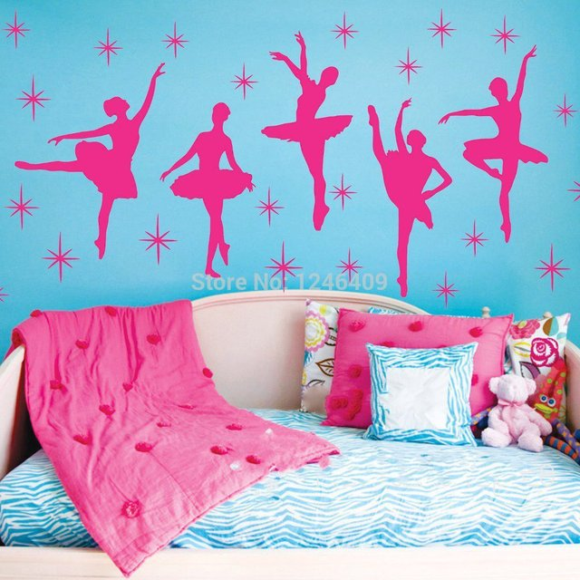 Charming Ballet Dance Ballerinas Stars Custom Vinyl Wall Decals - Custom vinyl wall decals for nursery