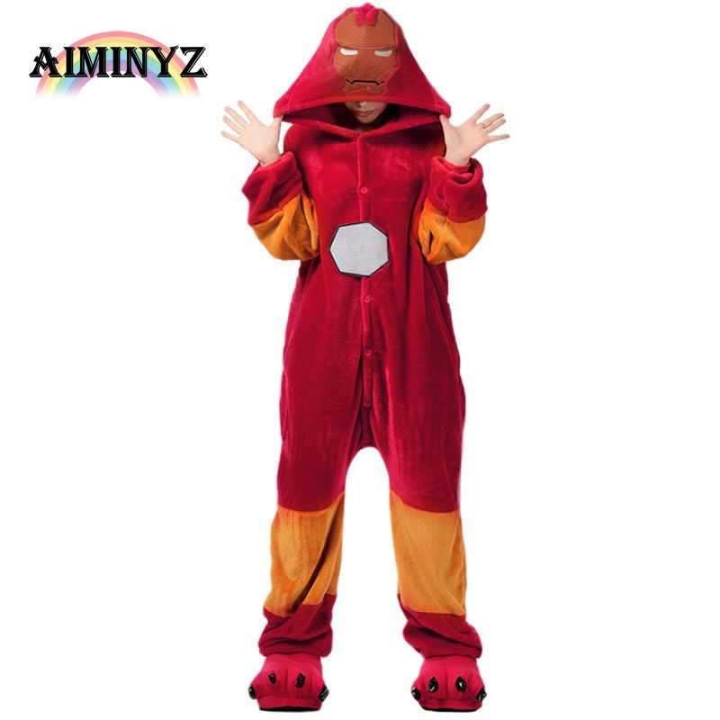 Fashion Brand Clothing Iron Man Unisex Adult Casual Flannel Hooded Long sleeve Pajamas Cartoon Hero Onesies Sleepwear For Women