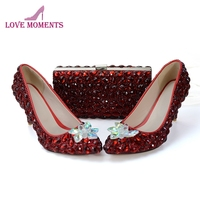 Bridal Dress Shoes with Clutch Customized Crystal Flower Wedding Shoes Wine Red Rhinestone Mother of the Bride Shoes with Purse