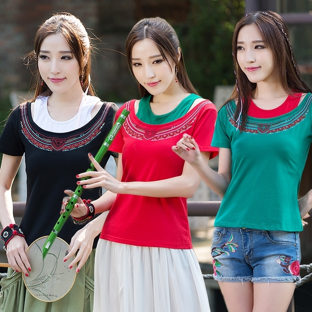 2017 Vintage 70s T Shirt For Women Mexican Style Ethnic Dark Green Red Black O Neck Short Sleeve Patchwork t-shirt
