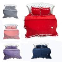 4 Pcs Sheet Pillowcase & Duvet Cover Bedding Set Luxury 200cm 220cm Round Sheet Lace Pillowcase/Duvet Cover Red Velvet Bedding