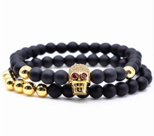 Bracelet Royal Skull Imperial Crown Micro Pave Crystal Gold Copper Beads Creative Antistress Fidget Cuff Satan Devil Coraline