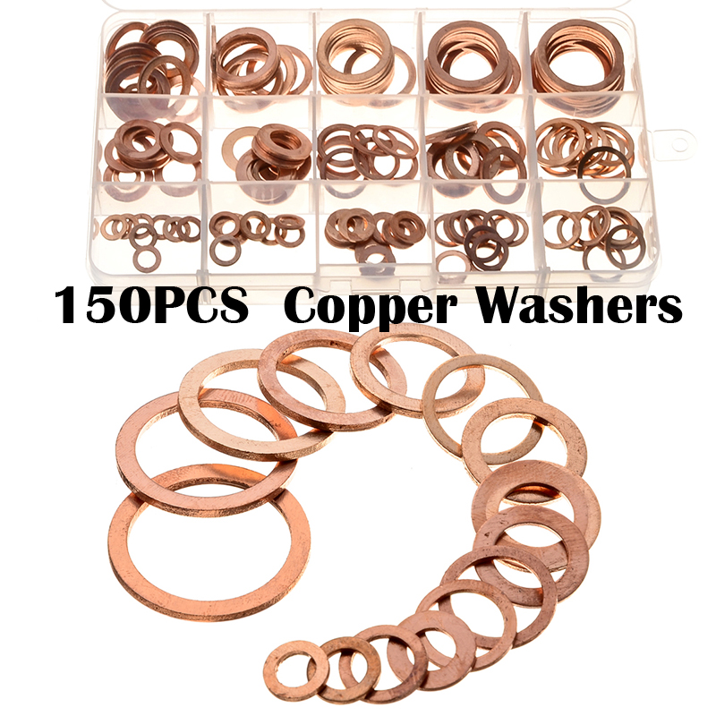 150pcs 15Sizes Assorted Seal Flat Ring Gasket Set Plug Washer M6/M8/M10/M12/M14/M16/M18/M20/M22 Solid Copper Crush Washers Kit 150pcs set brass copper flat washers m5 m6 m8 m10 m12 m14 m16 m18 m20 m22 sealing gaskets assortment set kit with box 15 sizes