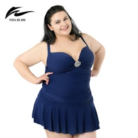 One Piece Big Swimsuit for Women Solid Colors Swimsuits of Large Sizes 2X 6X Lady Beach Dress Swimwear without Chest Pad