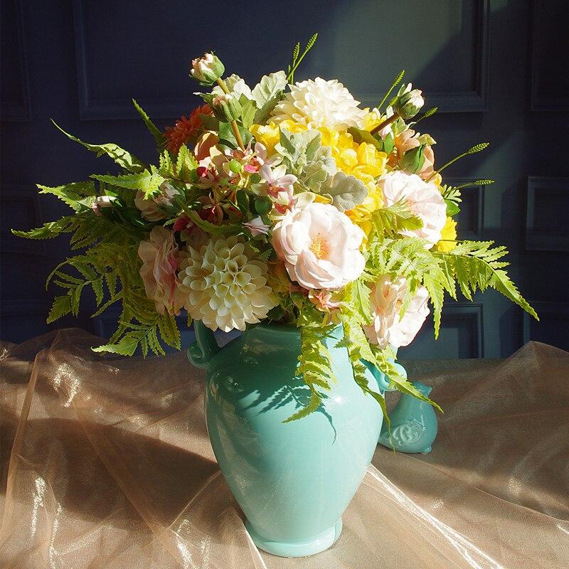 Ventes exclusives Bouquet rose pivoine Dahlia anémone fleur Arrangement mariée Bouquet fleur artificielle fête événement livraison gratuite