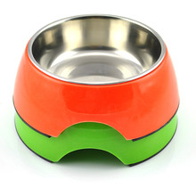 Stainless steel pet dog daily necessities plastic bowl cat combination of color options
