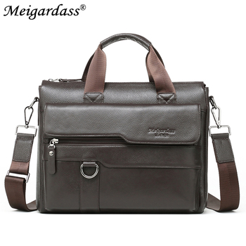 "MEIGARDASS Men's Bags Genuine Leather Briefcase 13"" Business Laptop Bag Messenger Shoulder Bag Male Casual Tote Handbags"