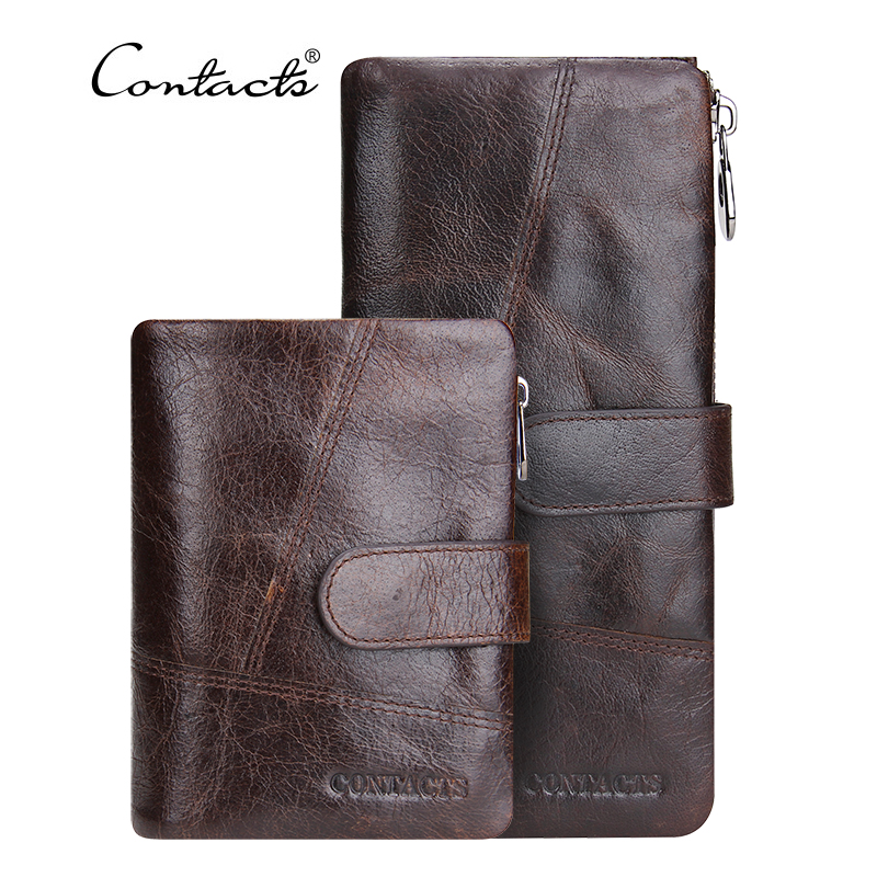 CONTACT S Genuine Leather Men Wallets Vintage Famous Brand Design Card Holder Purse Bag Coin Pockets