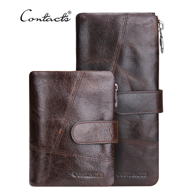 CONTACT'S Genuine Leather Men Wallets Vintage Famous Brand Design Card Holder Purse Bag Coin Pockets Long Clutch High Quality