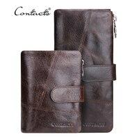 Genuine Leather Men Wallets 2016 Vintage Famous Brand Design Card Holder Purse Bag Coin Pockets Zipper