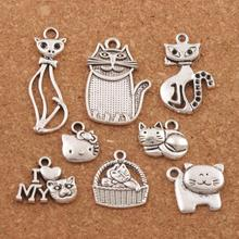 Mix Cat Animal Charm Beads 32pcs Antique Silver Pendants Jewelry Findings DIY LM43