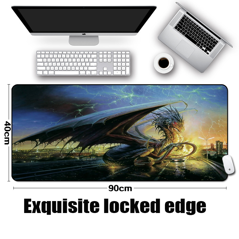 Mairuige The Dragon In Nordic Mythology Art Pattern Mousepad Huge Monster Large Size Big Table Mice Mat Elevate The Mouse Speed