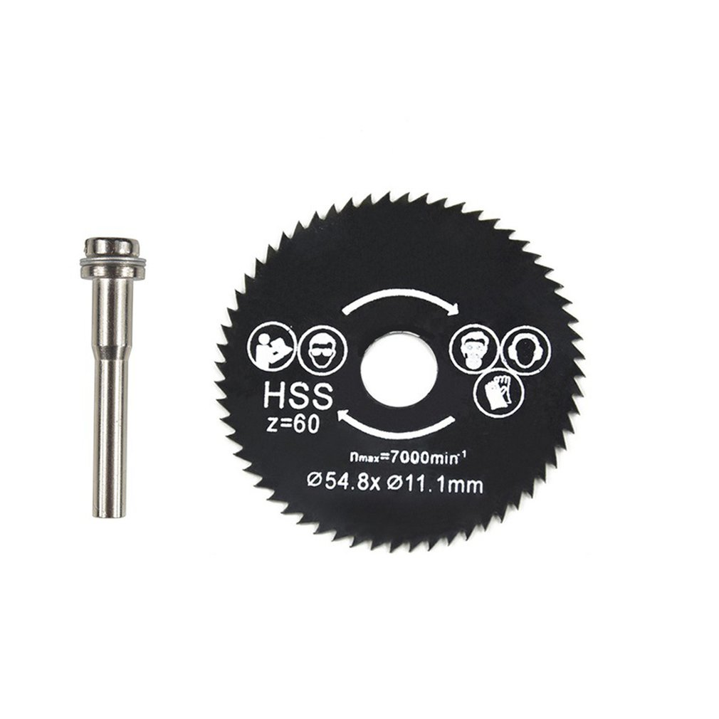 HSS Circular Saw Blade Rotary Tool Mini Wood Cutting Discs Blades With Drill Mandrel For Dremel Metal Cutter 54.8mm