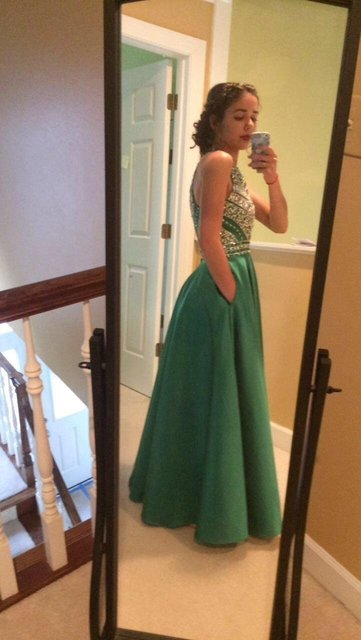 Royal Blue Crystals Prom Dresses 2019 A-Line Sleeveless Party Dress with Pockets O-Neck Beadings Satin Long Formal Evening Gowns 5