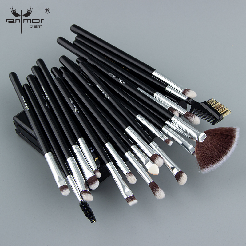 Anmor <font><b>19Pcs</b></font> Professional Eye <font><b>Makeup</b></font> <font><b>Brushes</b></font> <font><b>Set</b></font> Synthetic Eyeshadow Blending Make Up <font><b>Brush</b></font> Tool Silver Color Brochas Maquillaje image