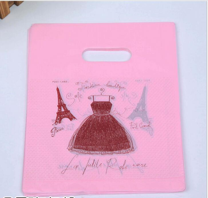 30x40cm (11.81x15.74) 100pcs Pink Dress Plastic Bags Cosmetic Favor Gift Bags Boutique Large Plastic Shopping Bags With Handle