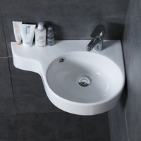 Bathroom corner basin hanging basin sink small mini apartment wall mounted ceramic triangle washbasin wx11201153