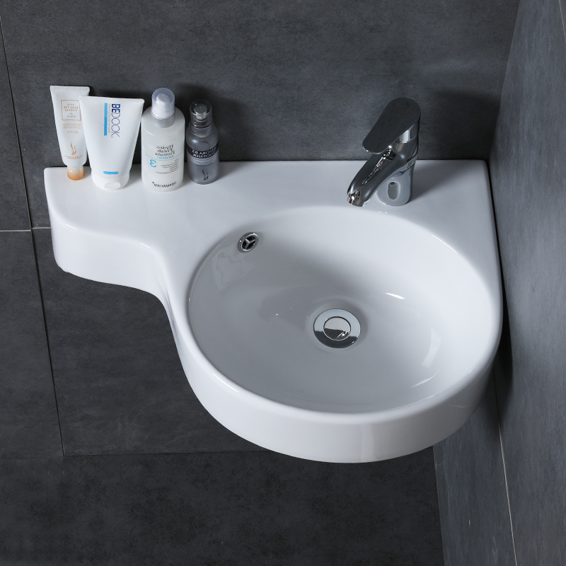 Bathroom Corner Basin Hanging Basin Sink Small Mini Apartment Wall-mounted Ceramic Triangle Washbasin Wx11201153