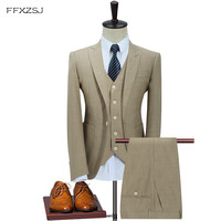 FFXZSJ2018 Beige Suit Men Slim Fit Summer Prom Wedding Suits for Men Terno Masculino Tuxedo Man Suit (Jacket+Pants+Vest) 3 Piece
