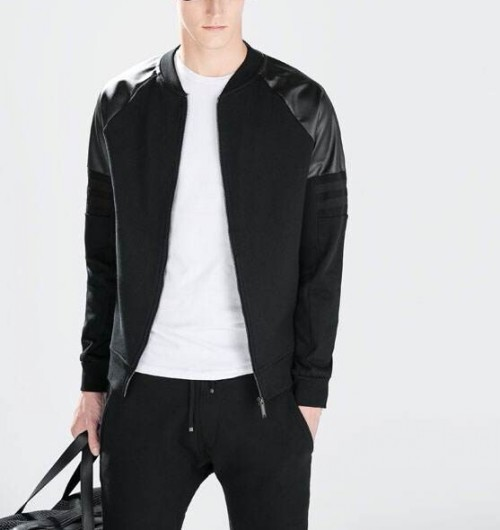 Leather Sleeve Jacket Mens - Jacket
