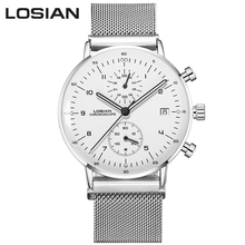 LOSIAN mens watches Fashion slim Multi-function Luminous waterproof calendar steel strip Quartz watch