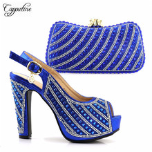 Amazing royal blue party shoes with bag set high heel sandals perfect and handbag set for fashion lady S2872 heel height 12.5cm