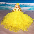 Party Dress Princess Gown for Barbie Doll with Hat Gorgeous Colorful Multilayer Dress For Barbie Doll christmas Gift Baby Toy