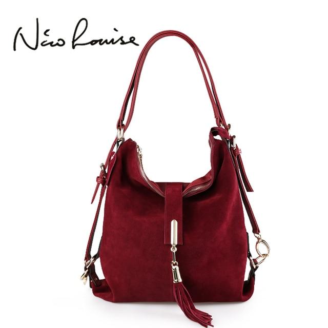 Nico Louise Women Real Split Suede Leather Shoulder Bag Female Leisure Nubuck Casual Handbag Hobo Messenger Top-handle bags
