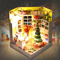 DIY Doll House Miniature Christmas House With Lamp + Dust Cover Toy House Wooden Dollhouse Kit  for Children Girlfriend Gifts