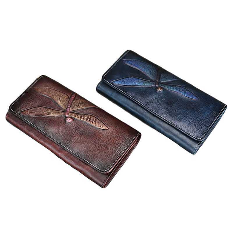 8PCS / LOT New Genuine Cowskin Wallet for Women Butterfly Pattern Long Purse Vintage Clutch Wallet High Quality Ladies Money Bag