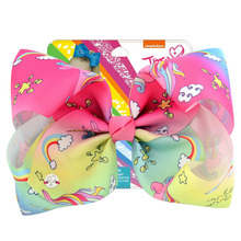 цена на Baby Headwear JOJO Siwa Hair Bow Hair Clips 8Inch Large Grosgrain Bows Print Unicorn With Alligator Clips Girls Hair accessories
