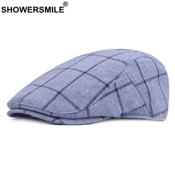 SHOWERSMILE Mens Blue Berets Plaid Adjustable Cotton Flat Cap Male Summer Autumn Classic England Breathable Duckbill Hat New