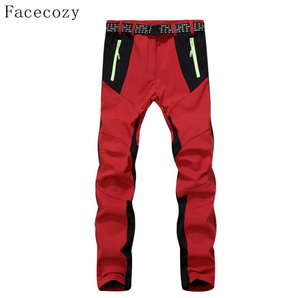 Facecozy Winter Women Softshell Hiking Pants Inner Fleece Patchwork Design Camping Trousers Outdoor Windproof Trekking Pant men plus size 4xl 5xl 6xl 7xl 8xl 9xl winter pant sport fleece lined softshell warm outdoor climbing snow soft shell pant