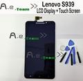 Para lenovo s939 lcd 100% nuevo lcd display + touch screen reemplazo del conjunto de pantalla para lenovo s939 smartphone